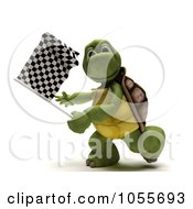 Royalty Free CGI Clip Art Illustration Of A 3d Tortoise Waving A Checkered Flag