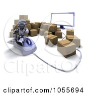 Royalty Free CGI Clip Art Illustration Of A 3d Silver Robot Sitting On A Computer Mouse Surrounded By Shipping Boxes