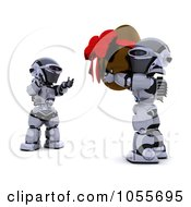 Royalty Free CGI Clip Art Illustration Of A 3d Silver Robot Carrying A Chocolate Easter Egg To A Friend