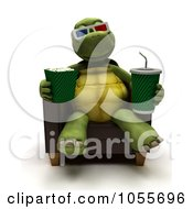 Royalty Free CGI Clip Art Illustration Of A 3d Tortoise Watching A Movie