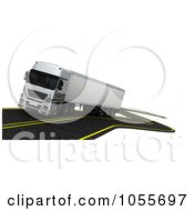 Royalty Free CGI Clip Art Illustration Of A 3d Big Rig Driving On A Windy Road