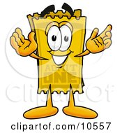 Clipart Picture Of A Yellow Admission Ticket Mascot Cartoon Character With Welcoming Open Arms by Toons4Biz