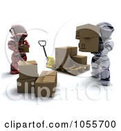 Royalty Free CGI Clip Art Illustration Of A 3d Robot Managing Another As He Loads Boxes Onto A Palette