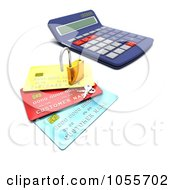 Royalty Free CGI Clip Art Illustration Of A 3d Padlock With Keys On Credit Cards By A Calculator