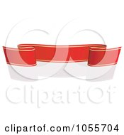 Royalty Free Vector Clip Art Illustration Of A Red Ribbon Banner With Gold Trim And A Reflection 16