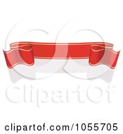 Royalty Free Vector Clip Art Illustration Of A Red Ribbon Banner With Gold Trim And A Reflection 20