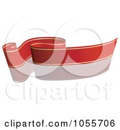 Royalty Free Vector Clip Art Illustration Of A Red Ribbon Banner With Gold Trim And A Reflection 1