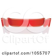 Royalty Free Vector Clip Art Illustration Of A Red Ribbon Banner With Gold Trim And A Reflection 14