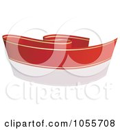 Royalty Free Vector Clip Art Illustration Of A Red Ribbon Banner With Gold Trim And A Reflection 5