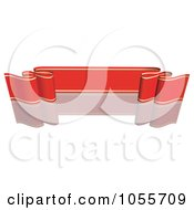 Royalty Free Vector Clip Art Illustration Of A Red Ribbon Banner With Gold Trim And A Reflection 11