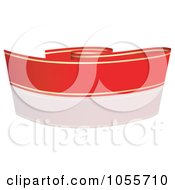 Royalty Free Vector Clip Art Illustration Of A Red Ribbon Banner With Gold Trim And A Reflection 6