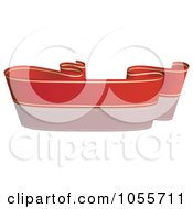 Royalty Free Vector Clip Art Illustration Of A Red Ribbon Banner With Gold Trim And A Reflection 2