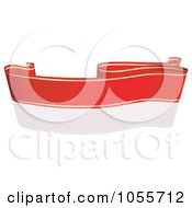 Royalty Free Vector Clip Art Illustration Of A Red Ribbon Banner With Gold Trim And A Reflection 17