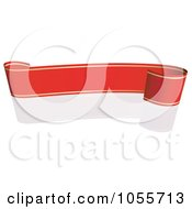 Royalty Free Vector Clip Art Illustration Of A Red Ribbon Banner With Gold Trim And A Reflection 18