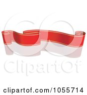 Royalty Free Vector Clip Art Illustration Of A Red Ribbon Banner With Gold Trim And A Reflection 8