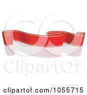 Royalty Free Vector Clip Art Illustration Of A Red Ribbon Banner With Gold Trim And A Reflection 7