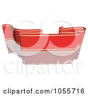 Royalty Free Vector Clip Art Illustration Of A Red Ribbon Banner With Gold Trim And A Reflection 9