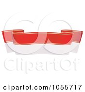 Royalty Free Vector Clip Art Illustration Of A Red Ribbon Banner With Gold Trim And A Reflection 15