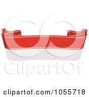 Royalty Free Vector Clip Art Illustration Of A Red Ribbon Banner With Gold Trim And A Reflection 19