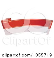 Royalty Free Vector Clip Art Illustration Of A Red Ribbon Banner With Gold Trim And A Reflection 3