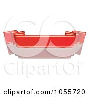 Royalty Free Vector Clip Art Illustration Of A Red Ribbon Banner With Gold Trim And A Reflection 10