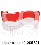 Royalty Free Vector Clip Art Illustration Of A Red Ribbon Banner With Gold Trim And A Reflection 13