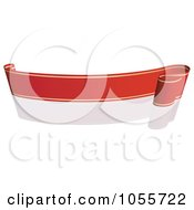 Royalty Free Vector Clip Art Illustration Of A Red Ribbon Banner With Gold Trim And A Reflection 4