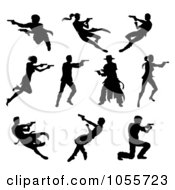 Royalty Free Vector Clip Art Illustration Of A Digital Collage Of Black Silhouetted Men And Women Shooting by AtStockIllustration