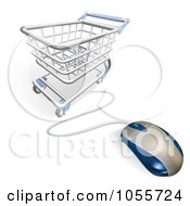 Royalty Free Vector Clip Art Illustration Of A Computer Mouse Wired To A Shopping Cart