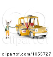 Royalty Free CGI Clip Art Illustration Of A 3d Rabbit Standing By An Open Taxi Door by Michael Schmeling