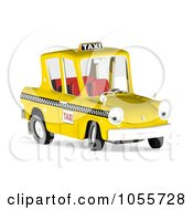 Royalty Free CGI Clip Art Illustration Of A 3d Yellow Taxi Cab Character by Michael Schmeling