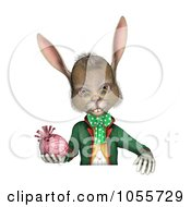 Royalty Free CGI Clip Art Illustration Of A 3d Easter Rabbit Holding An Egg And Looking Over A Blank Sign Over White by Michael Schmeling