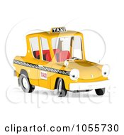 Royalty-Free CGI Clip Art Illustration of a 3d Orange Taxi Cab Character by Michael Schmeling #COLLC1055730-0128