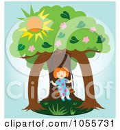 Royalty Free Vector Clip Art Illustration Of A Happy Girl Swinging Under Two Trees by Cherie Reve
