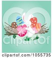 Royalty Free Vector Clip Art Illustration Of A White Easter Bunny Hugging An Easter Egg by Cherie Reve