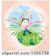 Royalty Free Vector Clip Art Illustration Of Rabbits Watching A Boy Read Outdoors by Cherie Reve