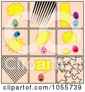 Royalty Free Vector Clip Art Illustration Of A Digital Collage Of Talking Eggs And Patterns On Pink by Cherie Reve