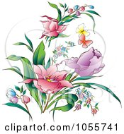 Royalty Free Vector Clip Art Illustration Of Pretty Spring Flowers And Butterflies by pauloribau #COLLC1055741-0129