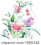 Royalty Free Vector Clip Art Illustration Of Beautiful Spring Flowers And Butterflies