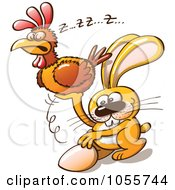 Royalty Free Vector Clip Art Illustration Of An Easter Bunny Stealing An Egg From A Hen by Zooco