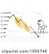 Royalty Free Vector Clip Art Illustration Of A Stick Man Watching A Decline Arrow Crash