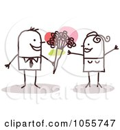 Royalty Free Vector Clip Art Illustration Of A Stick Man Giving Flowers To His Woman