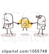 Royalty Free Vector Clip Art Illustration Of A Stick Couple Fighting Over A Child