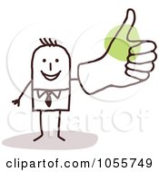 Royalty Free Vector Clip Art Illustration Of A Stick Man Giving A Thumbs Up With A Big Hand