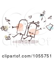 Royalty Free Vector Clip Art Illustration Of A Stick Couple Tearing Their Clothes Off