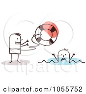 Royalty Free Vector Clip Art Illustration Of A Stick Man Lifeguard Tossing A Buoy To A Swimmer