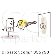 Royalty Free Vector Clip Art Illustration Of A Stick Man Unlocking A Door