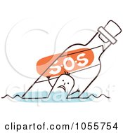 Royalty Free Vector Clip Art Illustration Of A Stick Man Floating In An SOS Bottle
