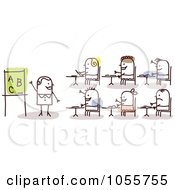Royalty Free Vector Clip Art Illustration Of A Stick Woman Teacher In Class