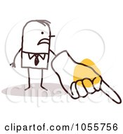 Royalty Free Vector Clip Art Illustration Of A Stick Man Scorning With A Big Hand
